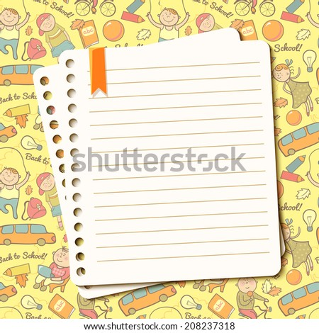Vector cheerful background with children and torn sheet of notebook for text - stock vector