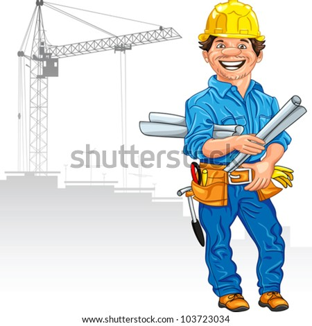 vector cheerful engineer builder in the yellow helmet with the drawing in hand, against a background of construction - stock vector