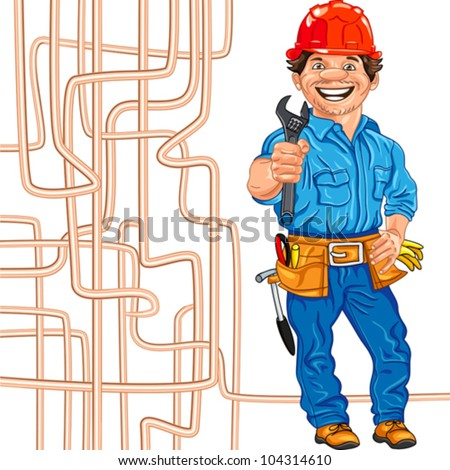 vector cheerful locksmith in the red helmet with the adjustable spanner in hand, against a background of copper water pipe - stock vector