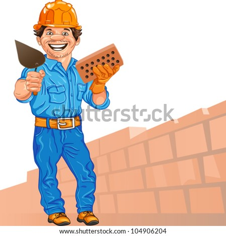 vector cheerful mason in the orange helmet with brick and trowel in hand, against a background of brick wall - stock vector