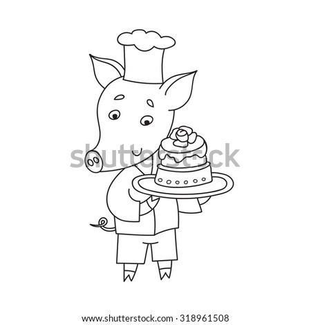 Vector cheerful pig with sweet cake. Cartoon happy confectioner. - stock vector