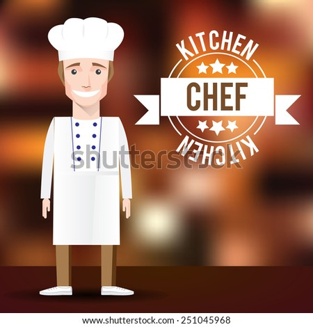 Vector Chef character on blurred background. Men's profession - stock vector