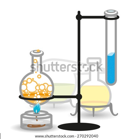 Vector chemical bottles and flasks. Illustration - stock vector