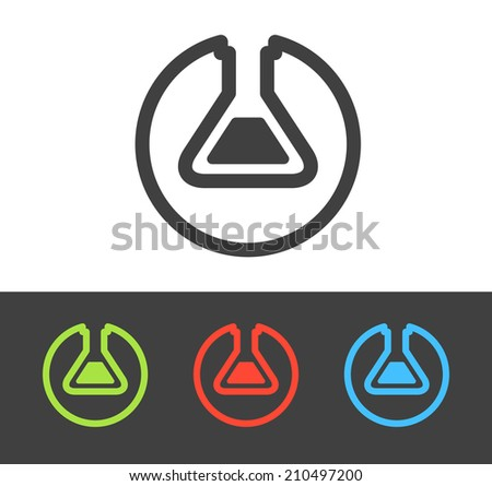 Vector chemical test tube icon set, line and flat design - stock vector