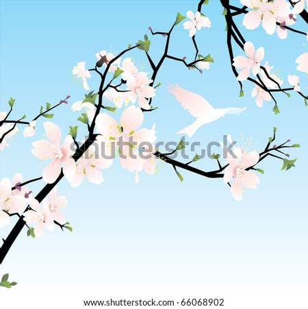 vector cherry blossom with bird - stock vector
