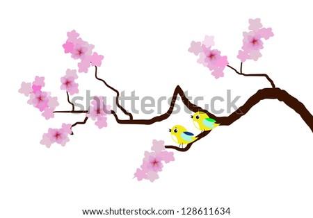 vector cherry blossom with birds - stock vector