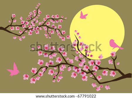 vector cherry blossom with birds and moon background - stock vector