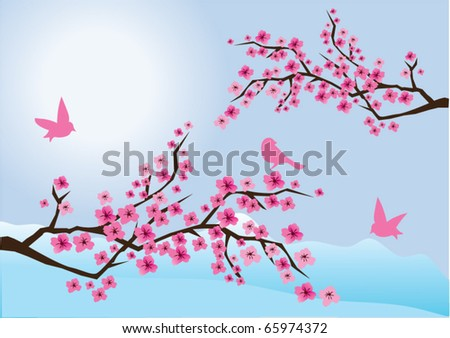 vector cherry blossom with birds and mountains at the background