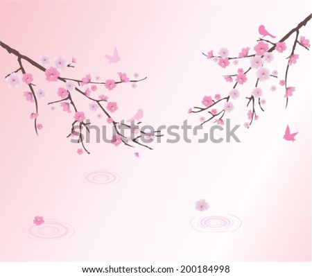 vector cherry blossom with birds and water circles - stock vector