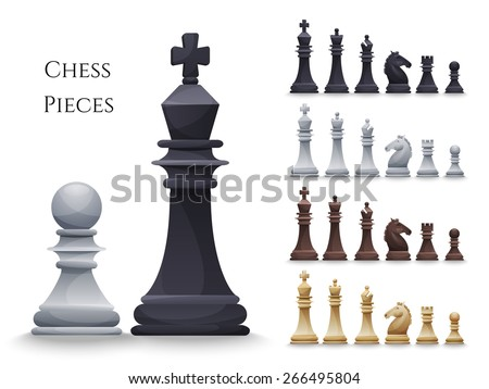 Vector Chess Figures big set, black and white. Illustration - stock vector