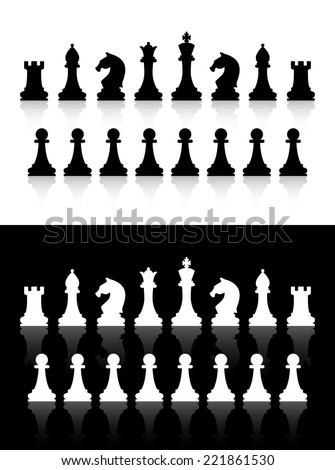 Vector chess icons silhouettes on white and black background - stock vector