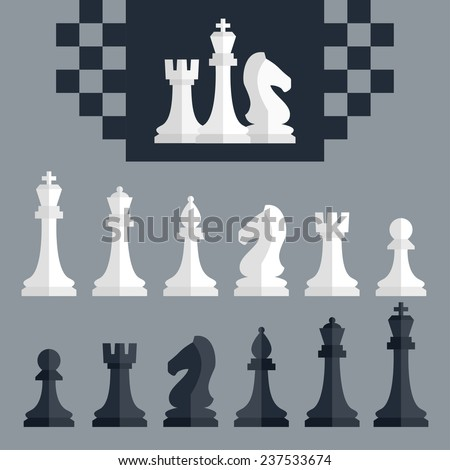 Vector chess pieces icons set, flat style - stock vector