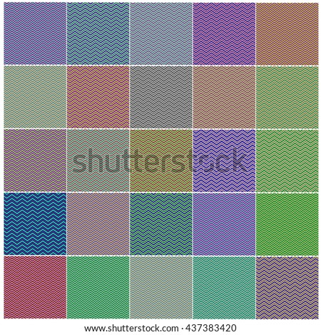 Vector Chevron Patterns in Red, Blue, Pink, Yellow, Green. Set of Vintage Retro Backgrounds - stock vector