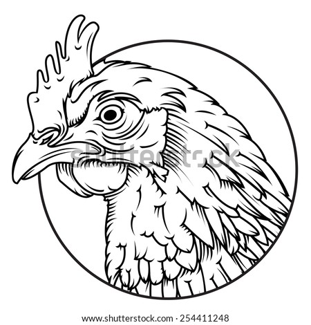 vector chicken head line drawing easy to edit rest of chicken body behind masked