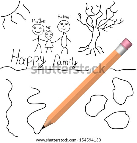 Vector child drawing with pencil - stock vector