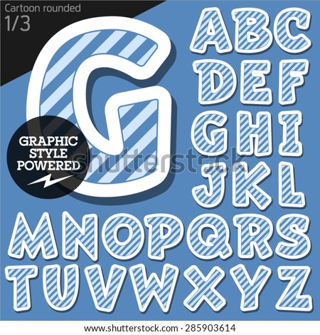 Vector children alphabet set in blue marine striped style. File contains graphic styles available in Illustrator. Uppercase letters - stock vector