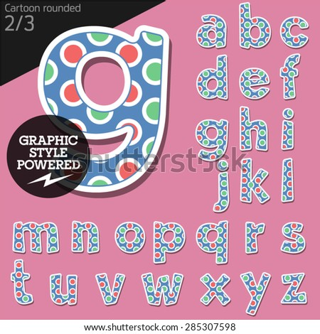 Vector children alphabet set in candy bubble style. File contains graphic styles available in Illustrator. Lowercase letters - stock vector