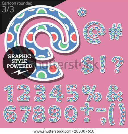 Vector children alphabet set in candy bubble style. File contains graphic styles available in Illustrator. Symbols and numbers