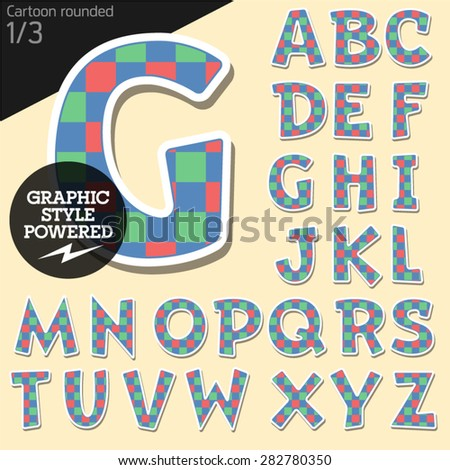 Vector children alphabet set in colorful square style. File contains graphic styles available in Illustrator. Uppercase letters - stock vector