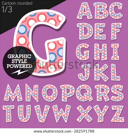 Vector children alphabet set in funny dots style. File contains graphic styles available in Illustrator. Uppercase letters - stock vector
