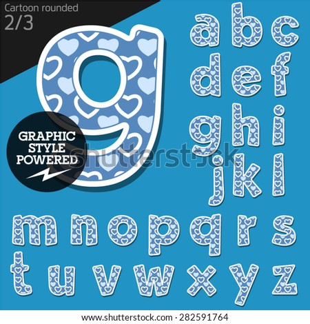 Vector children alphabet set in lovely heart style. File contains graphic styles available in Illustrator. Lowercase letters - stock vector