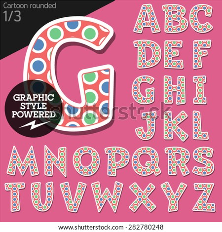 Vector children alphabet set in original candy style. File contains graphic styles available in Illustrator. Uppercase letters - stock vector