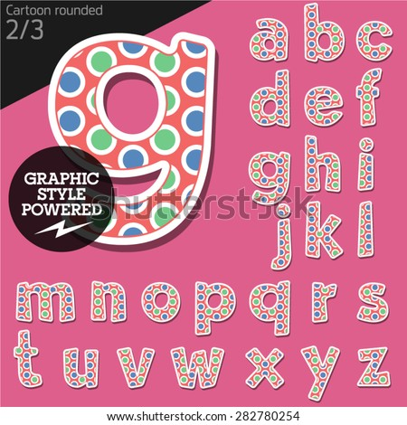 Vector children alphabet set in original candy style. File contains graphic styles available in Illustrator. Lowercase letters - stock vector