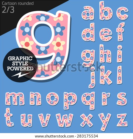 Vector children alphabet set in pretty flower style. File contains graphic styles available in Illustrator. Lowercase letters - stock vector