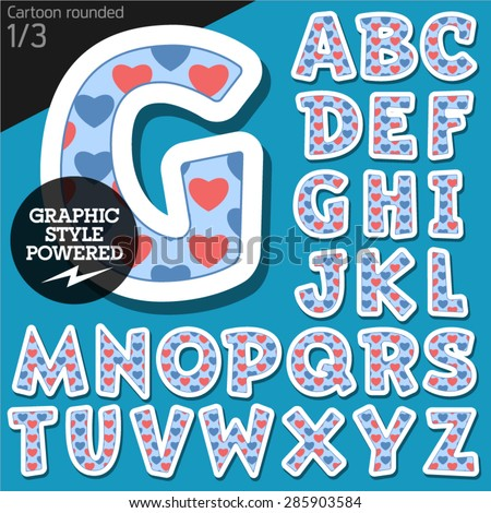 Vector children alphabet set in redneck pink heart style. File contains graphic styles available in Illustrator. Uppercase letters - stock vector