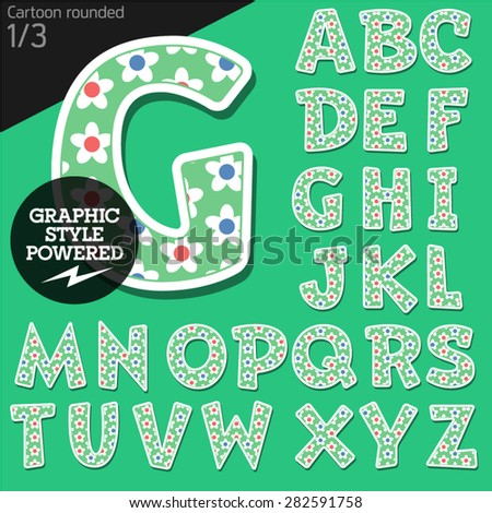 Vector children alphabet set in summer flower style. File contains graphic styles available in Illustrator. Uppercase letters - stock vector