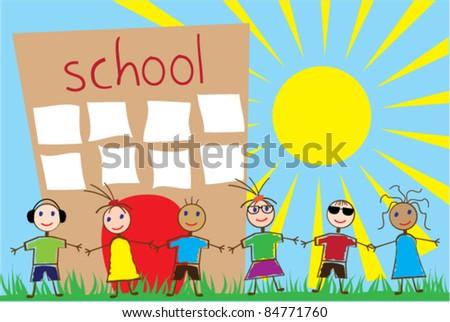 vector children and school building - stock vector