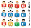 vector children holding cards with letters forming the word sale - stock vector