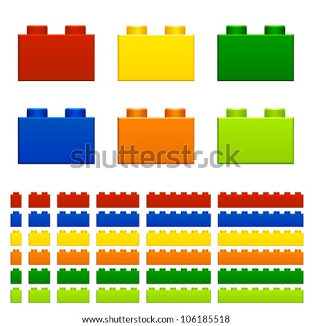 vector children plastic bricks toy - stock vector