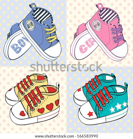 vector children's sport shoes with stripesfor baby boy and baby girl - stock vector