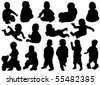vector children silhouettes - stock vector