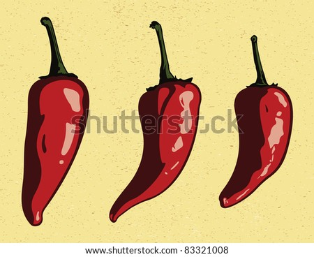 Vector Chili Peppers. - stock vector