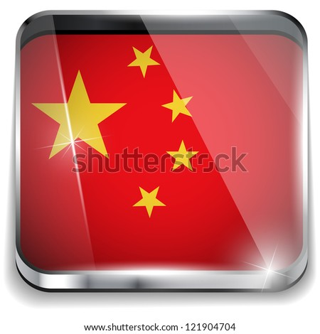Vector - China Flag Smartphone Application Square Buttons - stock vector