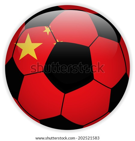 Vector - China Flag with Soccer Ball Background