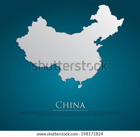 vector China Map card paper on blue background, high detailed - stock vector