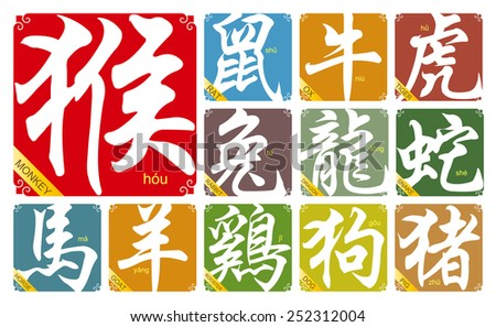 Vector Chinese zodiac signs with the year of the Monkey in 2016 - stock vector