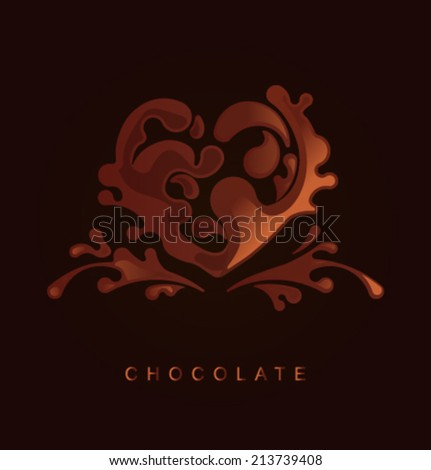 Vector chocolate heart - stock vector