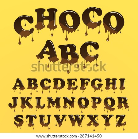 Vector chocolate letterhead alphabet. Shiny, glazed letters set. Glossy font type design - stock vector
