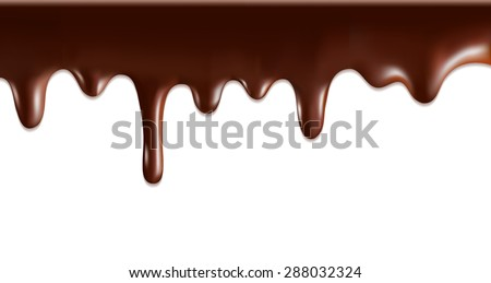 Vector Chocolate syrup drip pattern isolated on a white background - stock vector