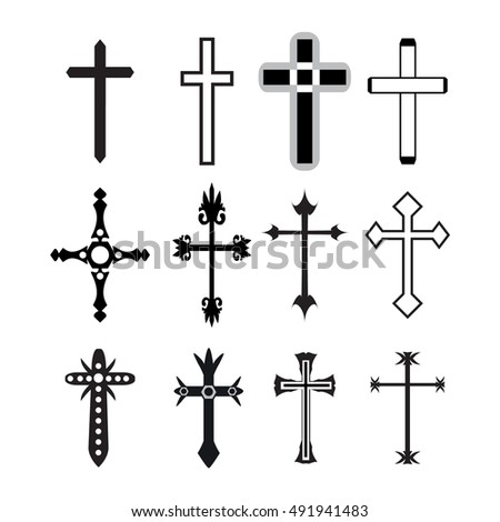 Vector christian cross icons, vector line black christian cross set on white background.