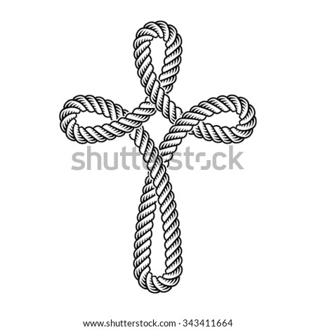 vector christian cross rope symbol - stock vector