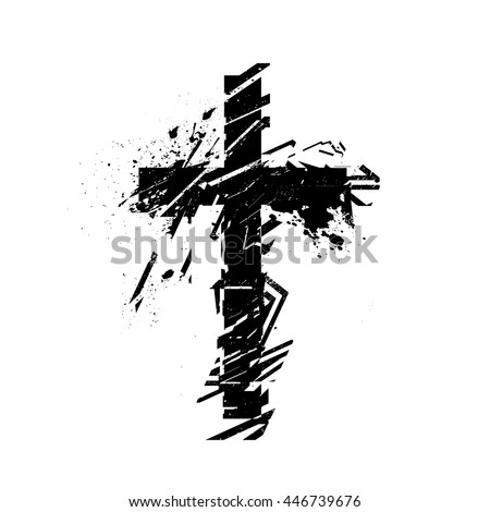 Vector Christian Cross Symbol Grunge Illustration Stock Vector