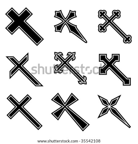 Vector christian crosses - stock vector