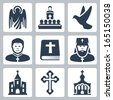 Vector Christian religion icons set - stock vector