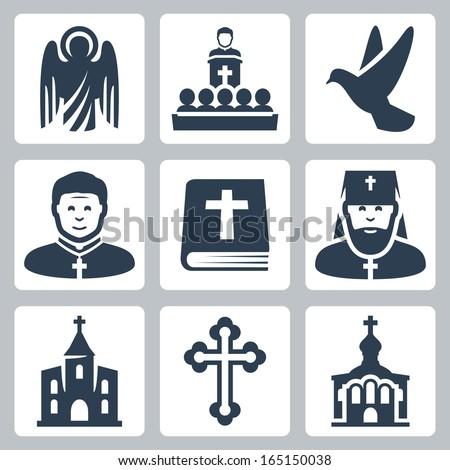 Vector Christian religion icons set - stock vector