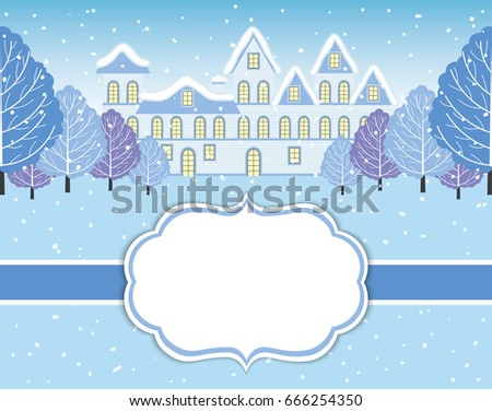 Vector Christmas and New Year card template with winter landscape. Christmas and New Year card template with house and winter trees on background with space for your text. Vector winter landscape.